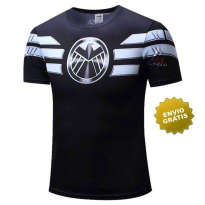 T-shirt Agentes da S.H.I.E.L.D. manga curta preta em Portugal