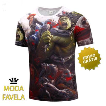 T-shirt Os Vingadores branca super heróis