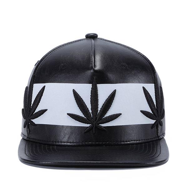 Chapéu Boné Cannabis em pele preto snapback Cap pala reta baseball comprar
