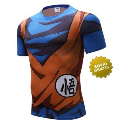 T-shirt Son Goku manga curta azul