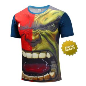 T-shirt hulk manga curta frente