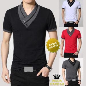 T-shirt Gola V com botões Manga Curta