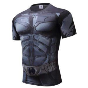 T-shirt Batman Camiseta manga curta super herois cinzenta