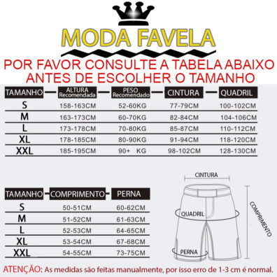 Calção MMA tabela