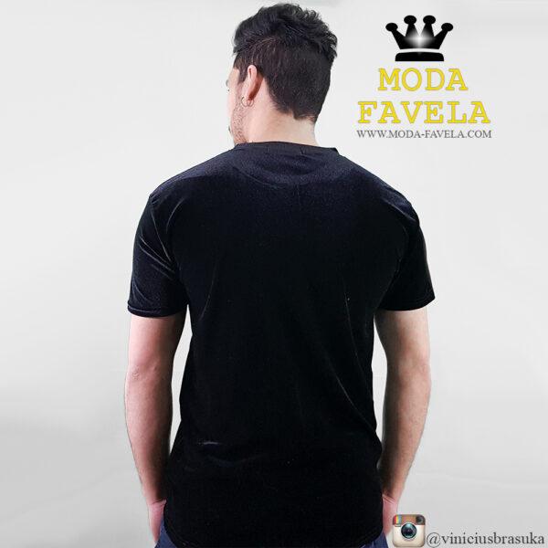 T-shirt Veludo Manga Curta Veludo foto real costas