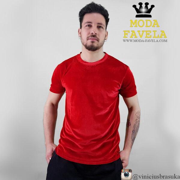 T-shirt Veludo Manga Curta Veludo vermelha frente