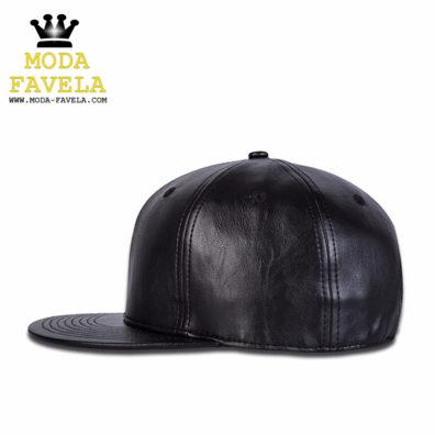 Chapéu em couro PU baseball lateral