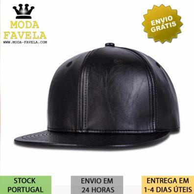 Chapéu em couro PU preto boné