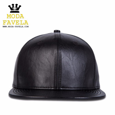 Chapéu em couro PU preto snap