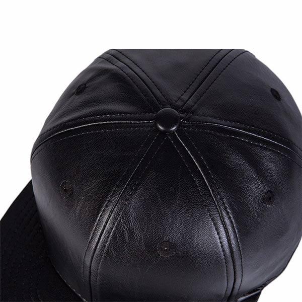 Chapéu em couro PU preto boné snapback cima