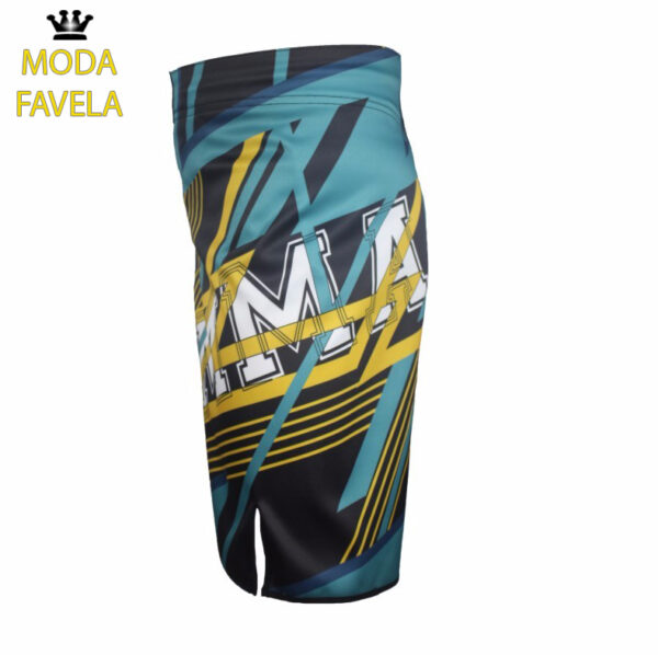 Calção MMA Azul preto shorts Muay Thai