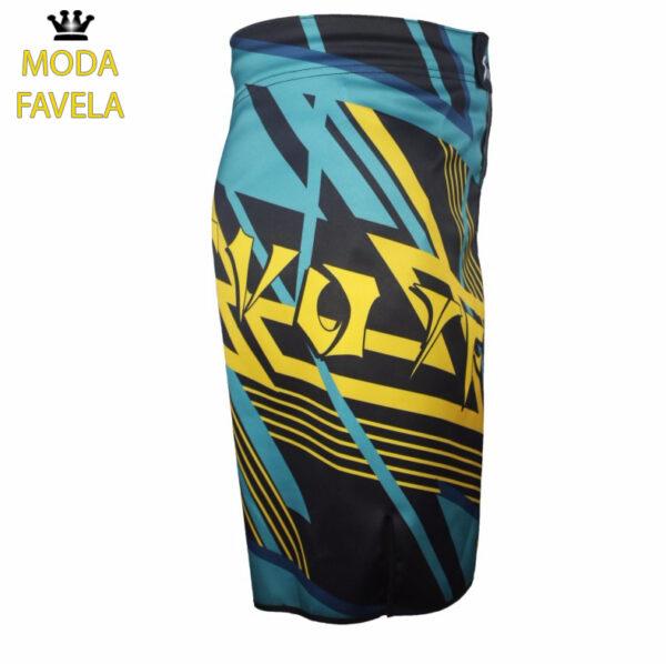 Calção MMA Azul preto shorts Muay Thai Boxe Azul preto.