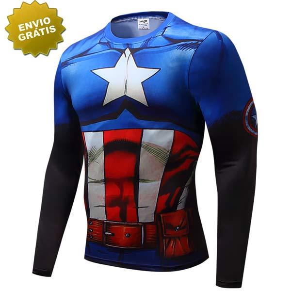 Capitão América manga comprida Vingador da Marvel