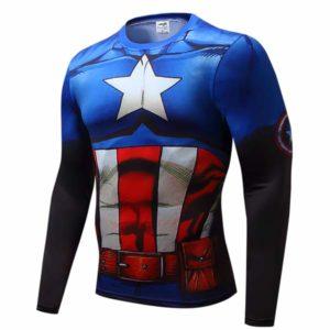 T-shirt Rash Guard Capitão América azul