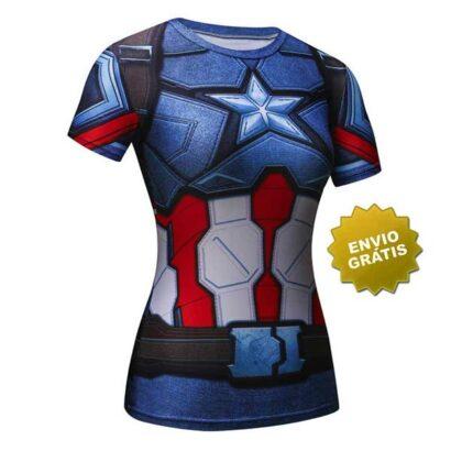 T-shirt Feminina Capitão América frente