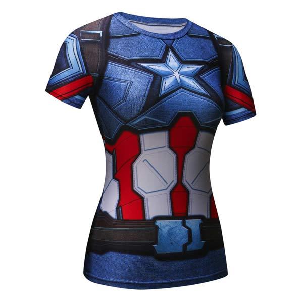 T-shirt Capitão América feminina azul