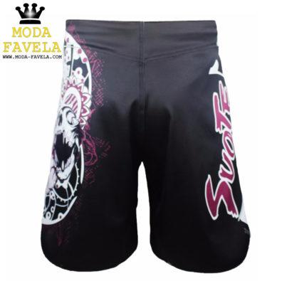 Calção Caveira rosa short luta costas