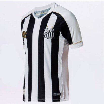 Camisa Santos Futebol Clube 2018 2019 preta e branca
