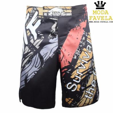 Calção Survival MMA preto com laranja shorts Muay Thai Boxe MMA.