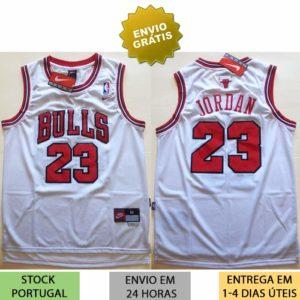 Camisola Michael Jordan Branca 23 Chicago Bulls camisas nba