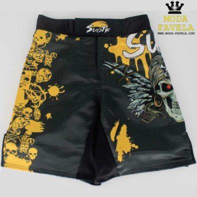 Calções Pirata MMA preto com amarelo