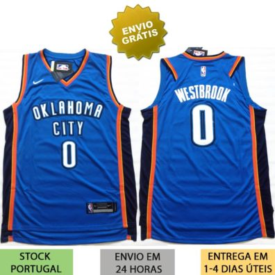 Camisola Oklahoma City Thunder Westbrook frente e costas