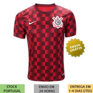 Camisa Corinthians Xadrez Pré-Jogo 2019/2020 vermelha e preta