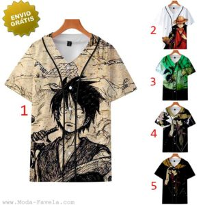 T-shirt/Camisa One Piece Luffy baseball