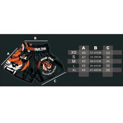 Tabela de medias Shorts Kickboxing Tiger Muay Thai Boxe