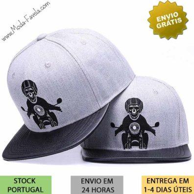 Boné Esqueleto motociclista cinza e preta