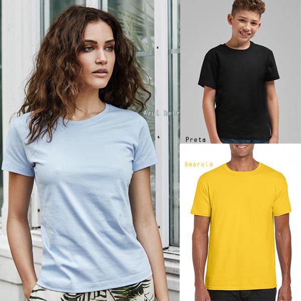 T-shirt lisa em algodão para várias cores