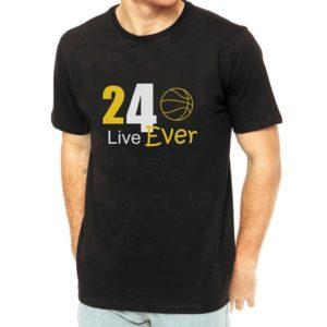 T-shirt Kobe Bryant Live For Ever 24 Preta algodão