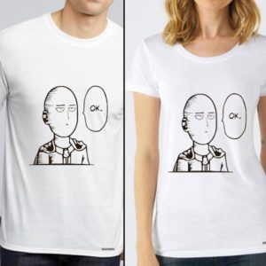 T-shirt One Punch-Man branca poliester