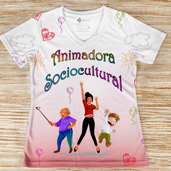 T-shirt profissão/curso Animadora Sociocultural feminina