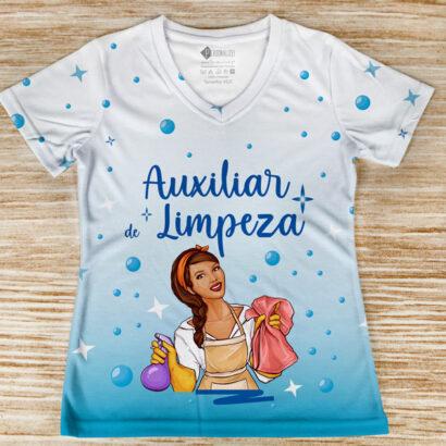 T-shirt profissão/curso Auxiliar de Limpeza faxineira