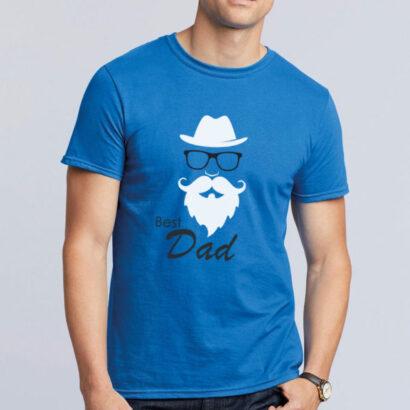T-shirt Best Dad azul envio para europa