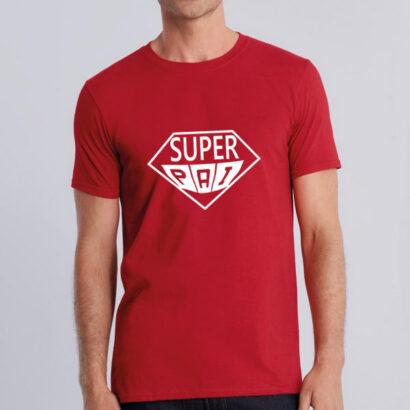 T-shirt Super Pai personalizável vermelha