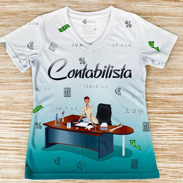 T-shirt profissão/curso Contabilista