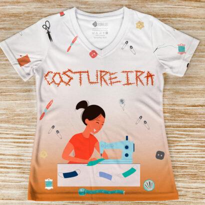 T-shirt profissão/curso Costureira frente
