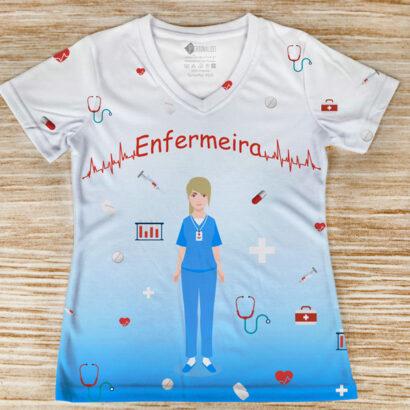 T-shirt profissão/curso Enfermeira frente