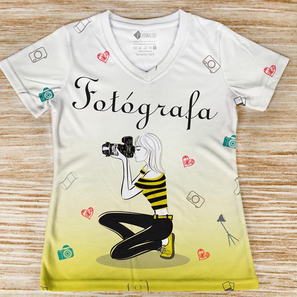 T-shirt profissão/curso Fotógrafa