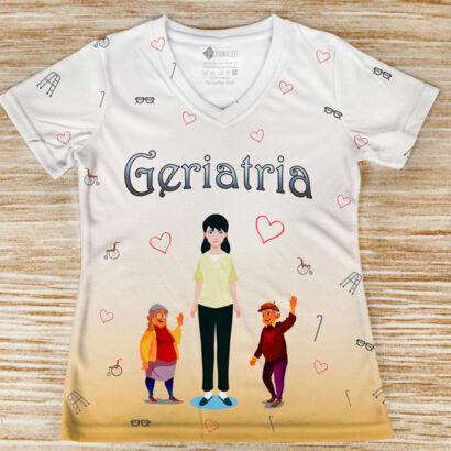 T-shirt profissão/curso Geriatria