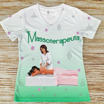 T-shirt profissão/curso Massoterapeuta verde