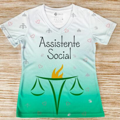 T-shirt profissão/curso Assistente Social frente