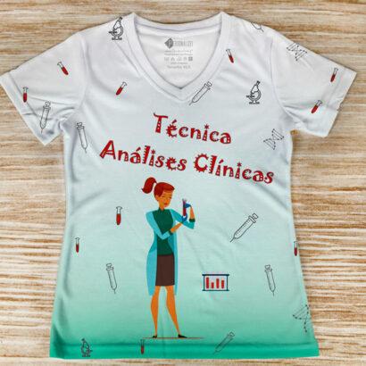 T-shirt profissão/curso Técnica Análises Clínicas