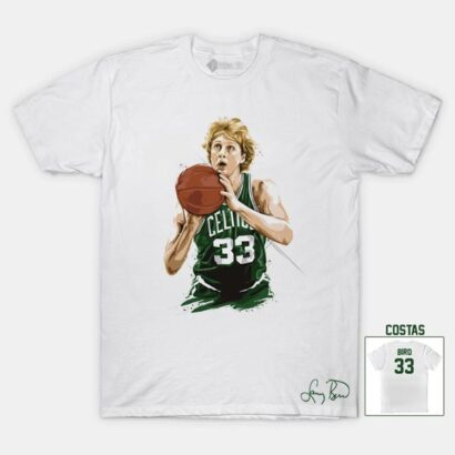 T-shirt Larry Bird 33 Boston Celtics NBA Branca