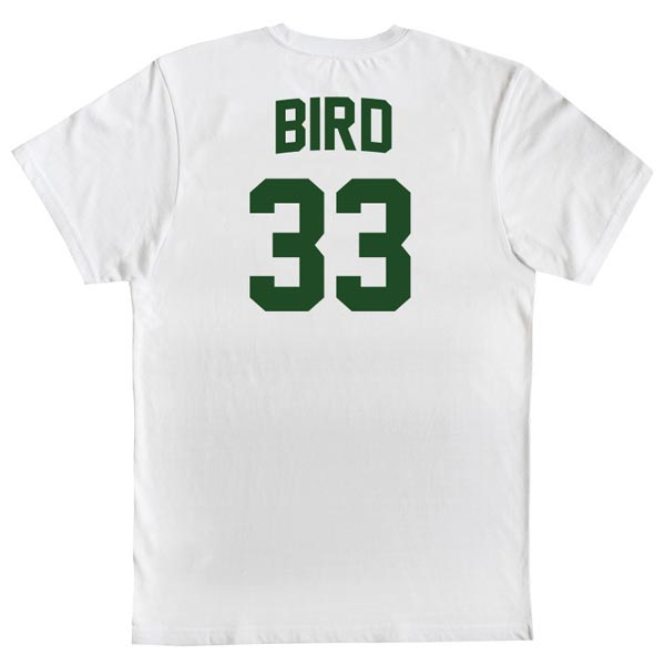 T-shirt Larry Bird 33 Boston Celtics NBA Branca costas