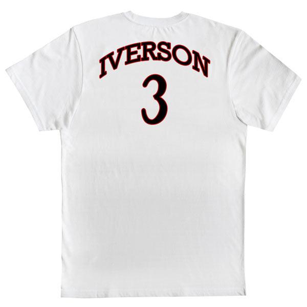 T-shirt Allen Iverson 3 Philadelphia 76ers NBA Branca costas