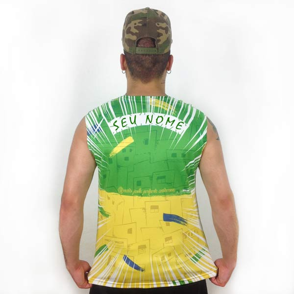 Camisola Cava Regata Brasil personalizada com nome costas