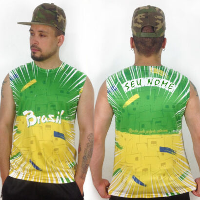 Camisola Cava Regata Brasil personalizada com nome brasil